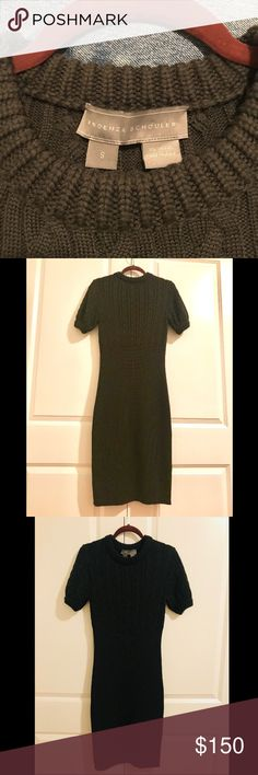Proenza Schouler knit sweater dress, size small Short sleeved, cable upper, ribbed from waist down. Just above knee length. Beautiful forest green shade. Proenza Schouler Dresses Midi
