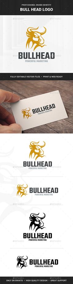 Bull Head Logo Template   #head #animal • Download ➝ https://graphicriver.net/item/bull-head-logo-template/18263785?ref=pxcr