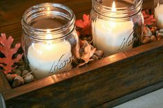 Use scrap wood and gathered leaves to create a beautiful Mason jar centerpiece for your Thanksgiving table Get the tutorial at Addicted 2 DIY.