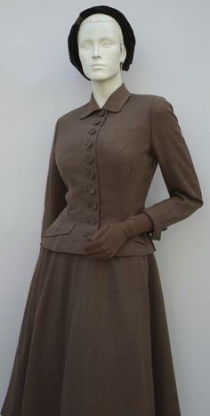FC0520 suit, brown silk by Sophie of Saks, early 1950s
