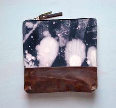 L E A T H E R CLUTCH Hand Dyed Cotton Bleach by GiftShopBrooklyn, $88.00