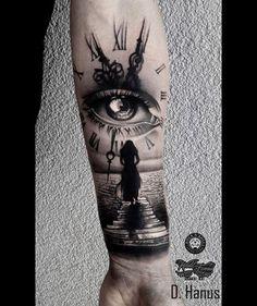 Resultado de imagem para stairs to clock tattoo Best Sleeve Tattoos, Sleeve Tattoos For Women, Tattoo Sleeve Designs, Leg Tattoos, Body Art Tattoos, Hai Tattoo, Tattoo Bein, Hand Tattoos For Guys, Tattoos For Daughters