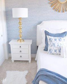 Home Interior Bathroom Coastal Glam Guest Bedroom Reveal Gold Bedroom, Home Decor Bedroom, Classic Bedroom Decor, Blue Master Bedroom, Diy Bedroom, Teen Bedroom, Bedroom Apartment, Modern Bedroom, Apartment Therapy