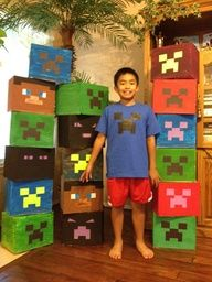 the result of my 11 year old minecraft bday party! Labor of love creepers head = great party and happy celebrant! Minecraft Party Games, Minecraft Party Decorations, Minecraft Birthday Party, Harry Birthday, Boy Birthday Parties, Birthday Fun, Mindcraft Party, Festa Party, Party Items