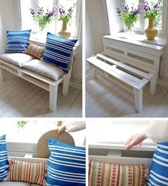 bench from pallets with their hands