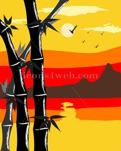 Bamboo vector. Mountain landscape with bamboo on foreground.