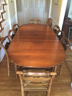 Vtg Hitchcock Dining Set Table (2 Leaves) & 8 Chairs (2 Arm) Rush Seats Eagle #Hitchcock