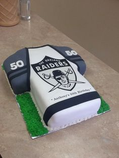 LiVay Sweet Shop Oakland Raiders Fondant Football Jersey Cake  #footballcake #oaklandraiders