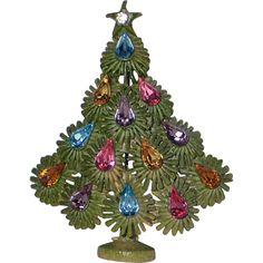 RARE Lisner Signed Mid-Century Enameled Christmas Tree Pin, Book Piece