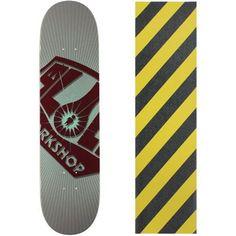 Alien Workshop Skateboard Deck OG Burst Large 8.25' Caution Grip, Grey