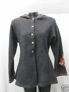 NWT Women's Vrikke Sweaters Embroidered 100% Wool Coat, Size M