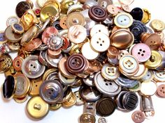 Mixed Metal Buttons, New Old Stock Garment Buttons, 200 pieces, Button Lot # 3