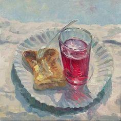 'Toast and Juice'  #Painting #StillLife #OilPainting #PaintingFromLife #FoodArt #Food #Fruit #Art #Artist #ContemporaryArt #FineArt #Paintingoftheday #Toast #Juice #PaperPlate #KidsParty #PlastiFork
