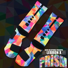 Lebron X Prism Custom Nike Elite Socks... these are my dream basketball socks. $39.99..... no biggy!