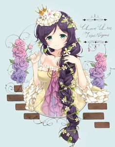 1girl artist_request braid crown flower green_eyes hair_flower hair_ornament highres love_live!_school_idol_project off-shoulder_dress purple_hair single_braid solo toujou_nozomi vines