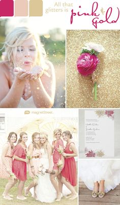 Playful + Regal. Pink and gold wedding colors--perfect for spring or summer!