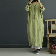 Casual loose retro linen autumn dress - Buykud