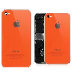 $14.97 Verizon iPhone 4 Tangerine Glass Back Cover with White Frame