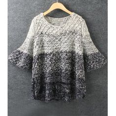 $29.00 Fashionable Scoop Collar Flare Sleeve Gradient Color Women's Sweater