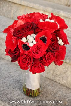 Stunning RED Bridal bouquet of anemones, Black Magic roses, Freedom roses, Forever Young roses and silver Brunia Nodiflora