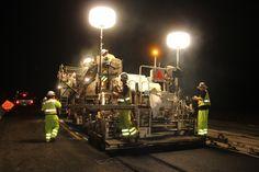 Night paving operation on Interstate 80 west of Sacramento, Calif.