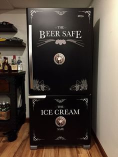 Beer Safe - Ice Cream Safe Refrigerator Wrap - ideas for your man cave at home or get away home. Man Cave Basement, Man Cave Garage, Man Cave Doors, Garage Bar, Garage Signs, Basement Stairs, Basement Flooring, Bathroom Flooring, Man Cave Fridges