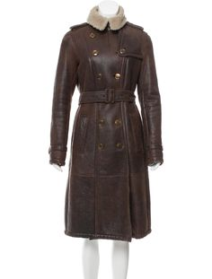 Burberry Double-Breasted Shearling Coat - Clothing - BUR86340   The RealReal