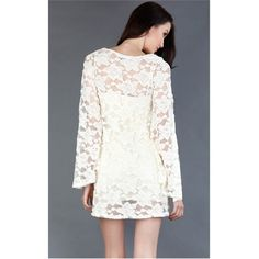 DH7897 Ivory Lace Bell Sleeve Dress and Womens Fashion Clothing & Shoes - Make Me Chic