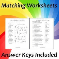 Lab Equipment Activity and Puzzles includes diagrams of common Biology lab equipment, matching worksheets, word search, crossword puzzle, and word scramble. Great for reviewing lab equipment names and functions throughout the school year.