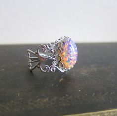 Fire Opal Ring Opal Ring Vintage Style Silver Ring by Jewelsalem, $18.90