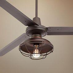 "60"" Turbina Franklin Park Bronze Damp Ceiling Fan - #U4514-7H579 | LampsPlus.com"