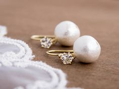 Cotton Pearl Earrings . gold hook earwire with crystal by CocoroJewelry