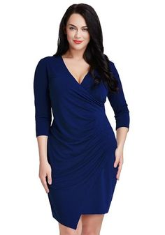 Plus Size Fashion // This stunning dress features sexy side ruching, asymmetrical hem, a seductive plunging neckline, back zipper and 3/4 sleeves.