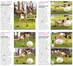 Exercise ball workout moves ~ I am enjoying the soft stretches I do on the ball now that it is winter and I'm less active. It is gentle, but provides a nice series of stretches and workout.