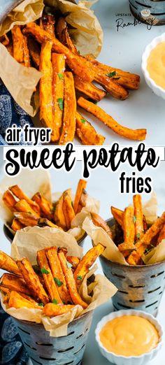 Air Fryer Oven Recipes, Air Frier Recipes, Air Fryer Dinner Recipes, Air Fryer Recipes Potatoes, Air Fryer Sweet Potato Fries, Potato Fry, Air Fryer French Fries, Easy Sweet Potato Fries, Air Fryer Fries