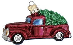 Old Truck with Tree Ornaments | Old World Christmas Glass Ornaments