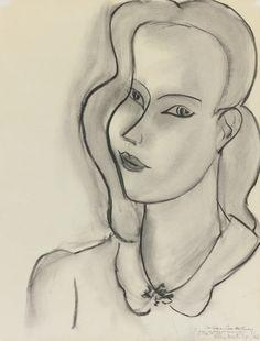 Henri Matisse  1869 - 1954  PORTRAIT DE FEMME  Estimate: 400,000 - 600,000 USD  Signed Henri Matisse, dated 7/42 and dedicated Au Professeur Pierre Wertheimer avec mes sentiments de reconnaissance et d'amitié 6/44 (lower right)  Charcoal and estompe on paper  20 7/8 by 16 in.  53 by 40.6 cm  Drawn in July 1942.