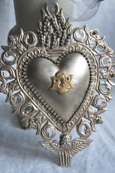 Ex voto sacred heart ornament christmas ornament by mysweetmaison