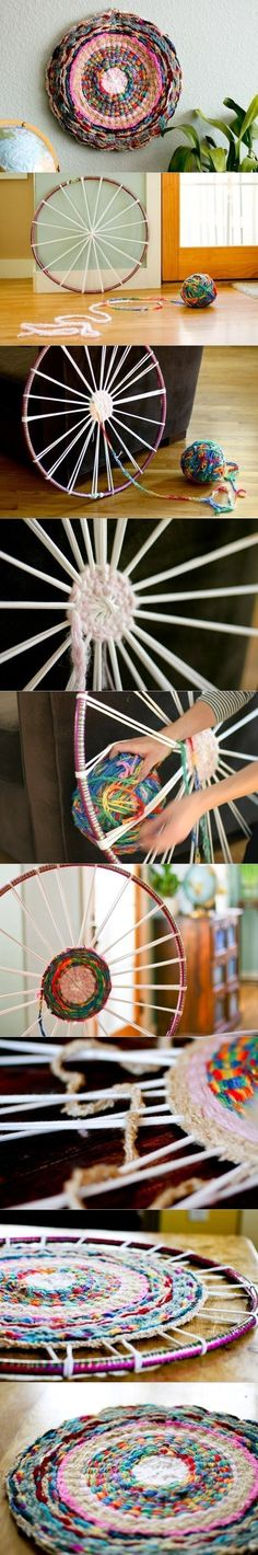 how to DIY Hand Woven Rug with Hula Loop wheel wall decor from hula loop