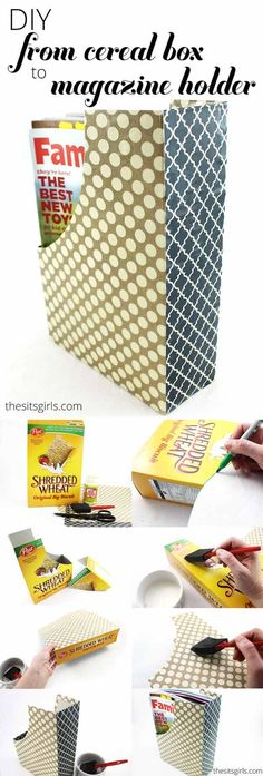 Upcycled Magazine Holder from Cereal Boxes | https://diyprojects.com/28-things-you-can-make-from-cereal-boxes/