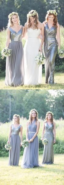 Gorgeous High Quality Mismatched Styles Sequin Long Cheap Wedding Party Dresses…