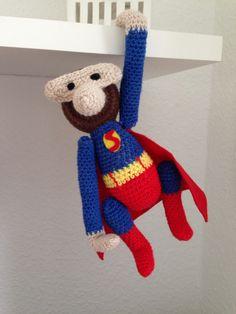 Superman, kaybojesen, chrochet, hæklet