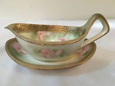 RS GERMANY PORCELAIN HANDPAINTED GRAVY BOAT AND SAUCER