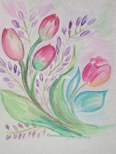 original watercolor painting  floral watercolor by ArtFromTheCabin, $20.00
