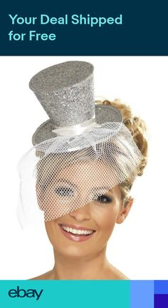 c1d1ad92016 Fever Mini Silver Glitter Top Hat with Veil ~ Burlesque Hen Night ~ Fancy  Dress