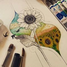 Night sky at time leading into a sunset without the lines & birds. Cute Tattoos, Body Art Tattoos, Tatoos, Tattoo Drawings, Cool Drawings, Arte Sketchbook, Sunflower Tattoos, Wow Art, Amazing Art
