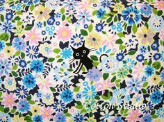 Kawaii Japanese Cocoland Cat Fabric Blue by the Half Yard