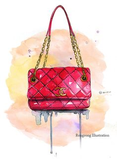 Fashion chanel bag illustration,Chanel inspred art print, Fashion wall art, Watercolor art, Girly wall art, Gift for her, Dressing room art