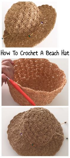 Learn How To Crochet a Summer Hat - Free Tutorial Love Crochet, Learn To Crochet, Knit Crochet, Easy Crochet, Crotchet, Crochet Scarves, Crochet Clothes, Crocheted Hats, Knit Hats