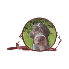 Dog and Flowers Round Messenger Bag. FREE Shipping. #artsadd #bags #dogs